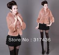 Free shippingelegant wine autumn fox fur collar rabbit fur coat jacket M/L/XL/XXL/XXXL