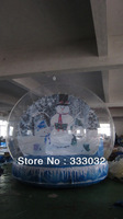 New clear inflatable snow ball Christmas decoration 4m diameter lovely snowman backdrop christmas decorating ideas