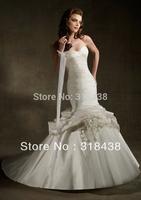 New Design LA-15 Elegant Mermaid Sweetheart Pleat  Flowers Taffeta and Tulle Wedding Dress White/Ivory VESTIDO DE NOIVA