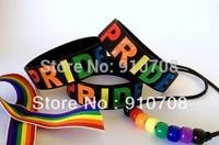 "Rainbow Pride Merchandise Wristand Bracelet Proud Colorful Wrist Arm Band,1"" silicone band,4pcs/lot,   free shipping"