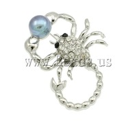 Free shipping!!!Freshwater Pearl Brooch,2015 new, Cultured Freshwater Pearl, with Zinc Alloy, Scorpion, platinum color plated