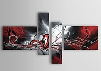 hand-painted wall art Red and black passion home decoration abstract Landscape oil painting on canvas 4pcs/set mixorde