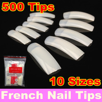 [ Retail ] 500Pcs/Pack  Natural French Nail Tips False Acrylic Nail Art Tips + Free Shipping