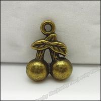 120pcs Vintage Charms Cherry  Pendant Antique bronze Zinc Alloy Fit Bracelet Necklace DIY Metal Jewelry Findings