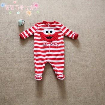 Sesame street plush thin horizontal stripe embroidered romper jumpsuit romper