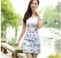 Free Shipping Phoenix hot silver flowers tangzhuang qipao summer wear the new dress