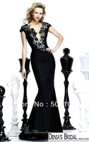 Glamorous Black V Neck Appliqued Mermaid Lady Dresses
