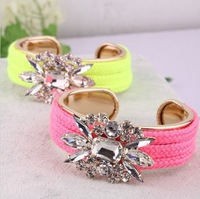 Min order $18 (can mix ) Fashion fluorescent color imitation crystal flower bracelets