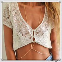 Min.order $10 mix order 2013 new arrival Fashion X-shaped bikini body chain jewelry Free shipping