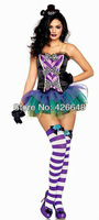 Free shipping brightly painted sexy corset miniskirt stage costumes ,women body shaper magician cosplay,halloween costumes