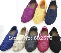 Free shipping Women's sunflower hollow out crochet soft bottom casual shoes, EVA flat Classic canvas shoes 8color Size: 35-40