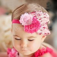Free Shipping Baby Feather Flower Rhinestone Headwear Headband FH09 - Pink + Hot pink