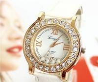 1PC High Quality 2014  brand design fashion diamond rose gold Roman  PU Leather  watch Free Shipping