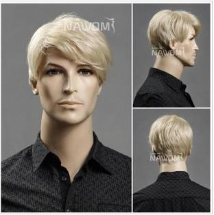 Gold high-grade men's short wig