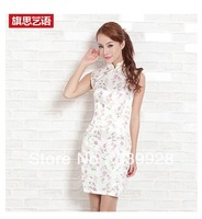 Free ShippingSummer fashion discount improved students daily cheongsam special silk joker floral shirt dress
