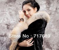 2013 counter genuine imitation mink striped long coat women's luxury fur coat