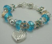 European Style 925 Silver Charm Bracelets With Blue Murano Glass Beads Handmade Fashion Pandora Beads Bracelet