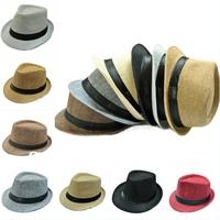 Fashion Women Mens Fedora Trilby Gangster Cap Summer Beach Sun Straw Panama Hats