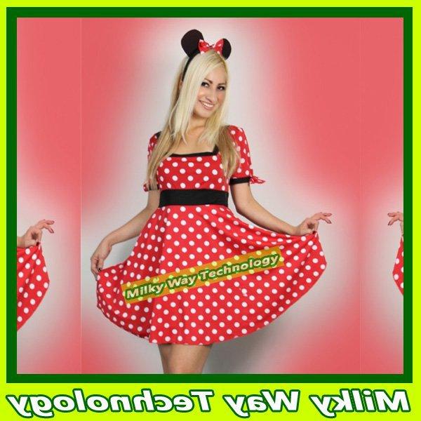 Grátis frete das mulheres de Halloween Sexy Minnie rato vermelho traje do rato(China (Mainland))