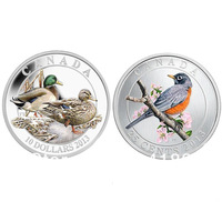 DHL Free Shipping 500pcs/lot Mix Order Mallard Duck Canada Silver Coin Rare Gold Royal Mint Robin Silver Bird Coin
