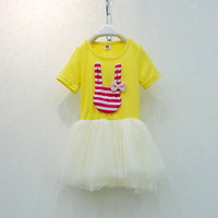 2013 summer rabbit girls clothing baby child short-sleeve gauze one-piece dress