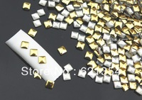 3mm* 3mm nail art stud decoration, punk style nail arts, golden stud. 10000 pcs per pack
