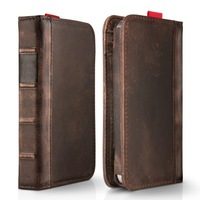 Brown genuine leather Wallet Antique Book Style Pouch Cover Card Case