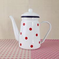 White polka dot che enameled thickening 1.1l coffeecakes teapot oiler enamel coffee pot