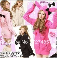 4 colors cute bunny ears hat lady sweater coat