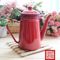 Export g . t 1.1l red enamel oiler coffee pot teapot