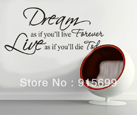 james dean quote WALL DECAL LETTERING DREAM LIVE LOVE FOREVER TODAY DECOR VINYL [Top-Me]-8133