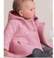 2014 free shipping Retail baby girl overcoat beautiful girl's pink jacket autumn winter infant outerwear 2colors in stock