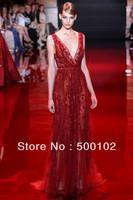 2014 Elie Saab V Neck Beaded Long Evening Party Dresses