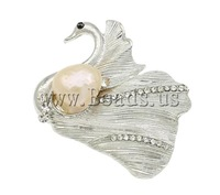 Free shipping!!!Freshwater Pearl Brooch,christmas, Cultured Freshwater Pearl, with Zinc Alloy, Swan, platinum color plated