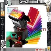 Universal 12 sets of Color Filter Card Diffuser+ Velcro + Rubber Band for YN560 SB900 600EX Flash Flashgun Strobist Speedlite
