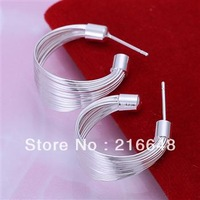 Promotion sale !!!! High Quality / Free shipping fashion jewelry, 925 Silver  hoop earrings, women studs earrings
