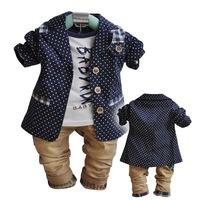 Free Shipping 2013 New Arrival ( Suit+T-Shirt+Pants) Autumn 3 pieces suits  for children Fashion boy's polka dot suit