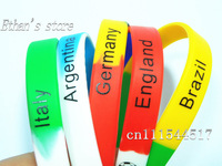 Free Shipping National Soccer Italy /Germany/Brazil/England/Argentina  Wristband Silicone  Bracelets For Men  Lots  Mix color