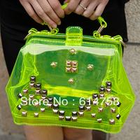 HOT New Arrived  Fluorescent Color Rivet  women's PU  fashion beautiful high quality bag D02