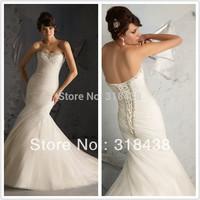 Free shipping GD-27 Elegant Mermaid Sweetheart Pleat Crystals Organza Wedding Dress Write/Ivory Custom-made