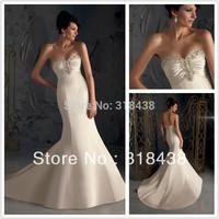 Free shipping HS-65 Elegant Mermaid Sweetheart Pleat Crystal Embroidery Satin Wedding Dress Write/Ivory Custom-made