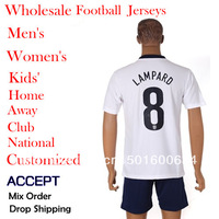 13/14 National Soccer Jerseys Team #8 LAMPARD Home/Away World Cup Uniforms Football Jersey Free White Customize Name Number