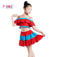 Child Latin dance clothes costume female child milk, silk Latin set  ,free shipping