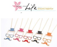 Fashion European style  Hat + mustache + glasses sweater chain alloy  Bib Necklace Free Shipping N-073