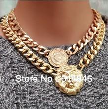 Lionhead rainha estátua AavatarPendants bijuteria Retro vintage declaração ouro clavícula clavícula gargantilhas colares A136(China (Mainland))