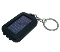 Mini Black Rechargable Solar 3 LED Flashlight Torch Keychain