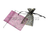 Free shipping!!!Jewelry Drawstring Bags,Newest Design, Organza, printing, translucent, mixed colors, 13x18cm, 500PCs/Bag