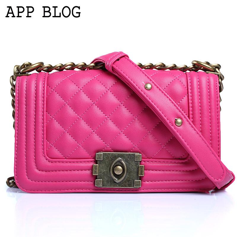App blog women's plaid handbag chain bag small bag small mini shoulder bag messenger bag 2013(China (Mainland))