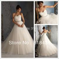 Free shipping NDI-537 Elegant A-Line Sweetheart Beaded Pleat Organza Wedding Dress Write/Ivory Custom-made