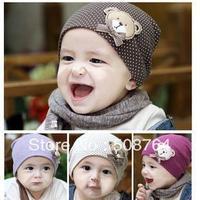 10pcs New style wholesale fashion baby hat baby cap baby bear hat infant hat infant cap headress children cap +Free shippipng